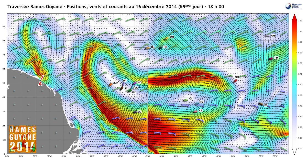 Rémy Landier (RL sur la carte) s'approche du courant sud-équatorial. Devant, ce sera à celui qui arrivera à profiter au mieux de cette veine.
